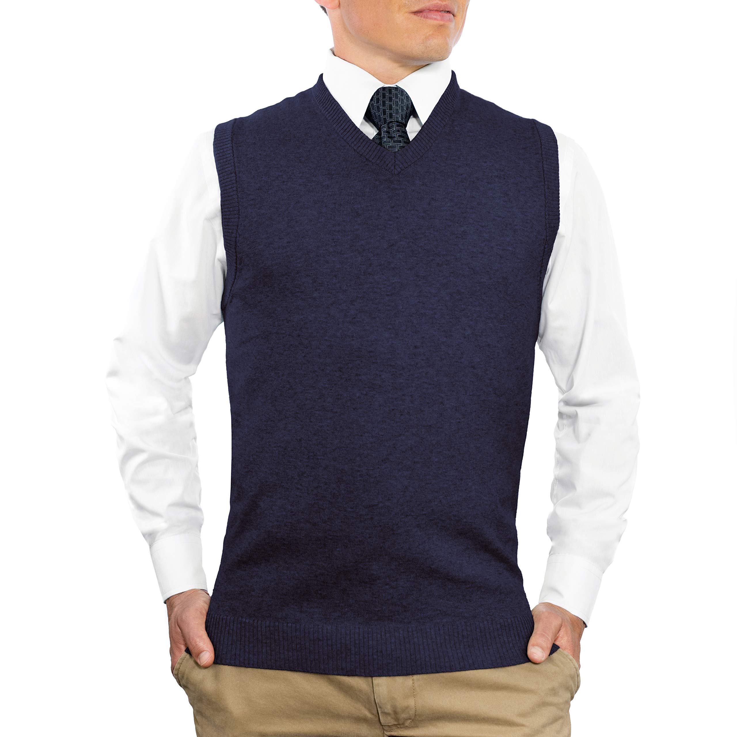 CC Cotton Blend Slim Fit V Neck Sweater Vest for Men | Lightweight Breathable Vests for Men | Wash Friendly V Neck Mens Vests, Medium, Navy Blue by Comfortably Collared