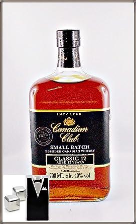 Canadian Club 12 Jahre Kanadischer Whisky mit 2 Original Edelstahl Kühlsteine im Smoking, kostenloser Versand