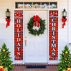 Joyjoz Christmas Banner, Christmas Decorations, Christmas Porch Sign Hanging Xmas Decorations for Indoor Outdoor Holiday Front Door Home Wall Apartment Party Decorations