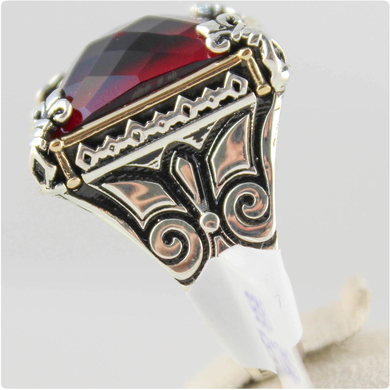 Turco otomano 925 Sterling Silver Anillo Rubí Facetado para hombre de lujo todos los tamaños