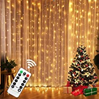USB LED Curtain Lights with Remote Control 9.8FTx 9.8FT 8 Mode Lights Outdoor Decorative Wall Window String Lights for…