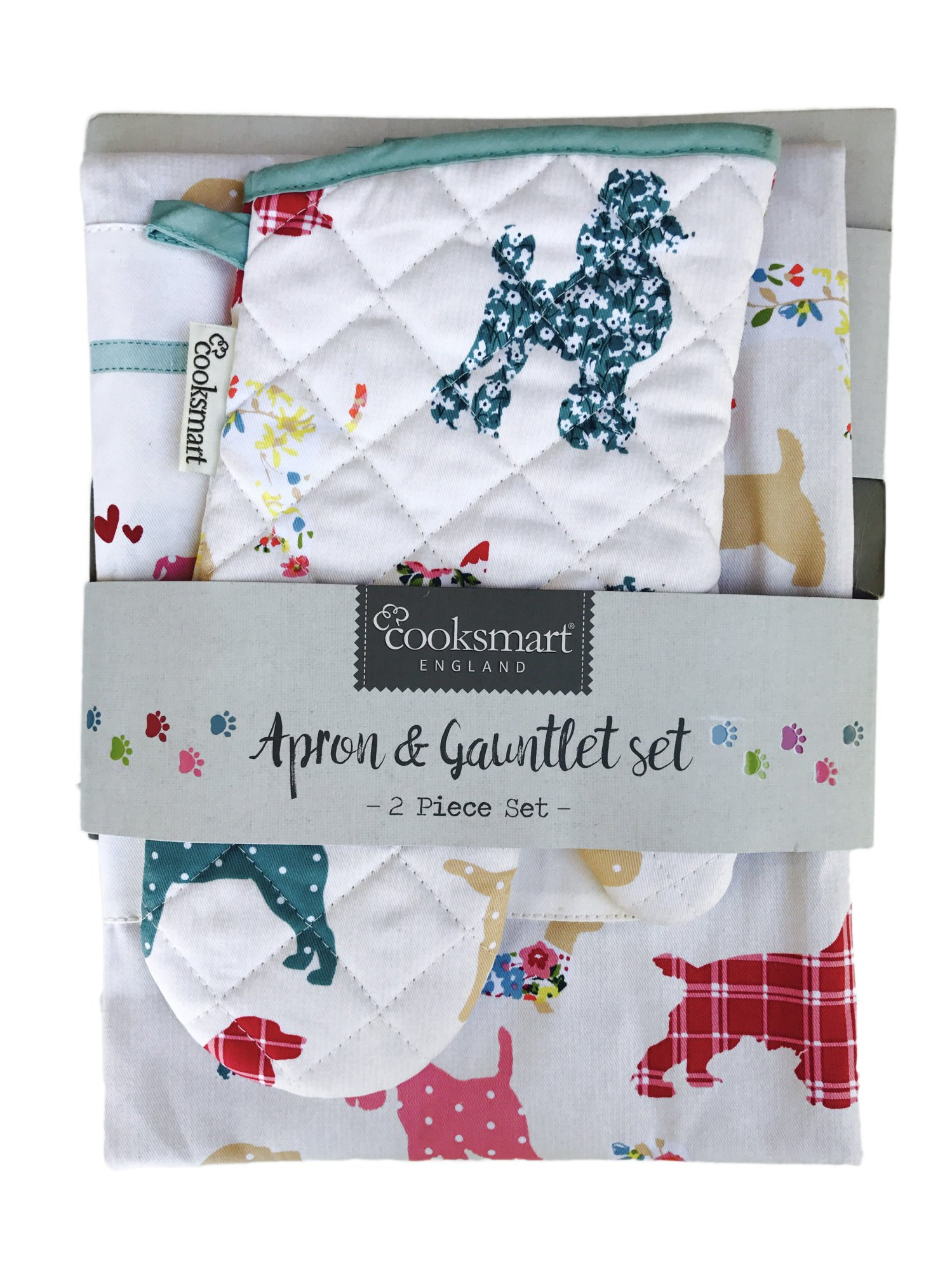 Cooksmart Patchwork Dogs Apron And Gauntlet Oven Mitt Set