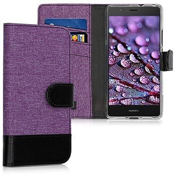 kwmobile Funda para Huawei P9 Lite - Carcasa de Tela y [Cuero sintético] - con Tapa y [Tarjetero] [Violeta/Negro]