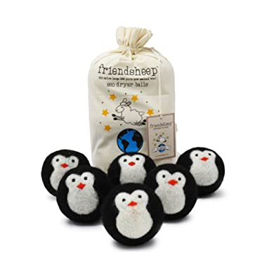 Organic Eco Wool Dryer Balls - Black Penguin - 6 Pack - 100% Handmade, Fair Trade, Organic, No Lint - Premium Quality Cool Friends