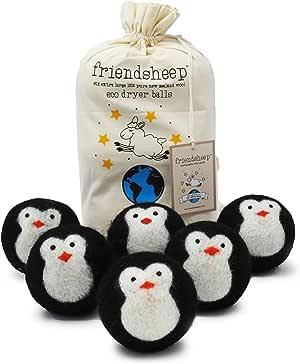 Friendsheep Wool Dryer Balls, Organic Fair Trade Reusable Fabric Softener, Extra Large, 6 Pack, Black Penguin - Cool Friends