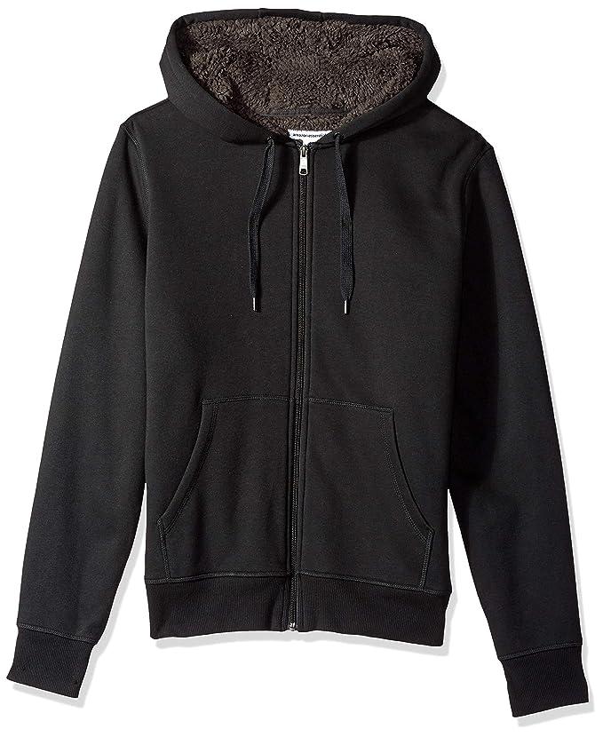 Amazon Essentials Men's Sherpa Lined Full-Zip Hooded Fleece Sweatshirt, Black, Large best men's jackets