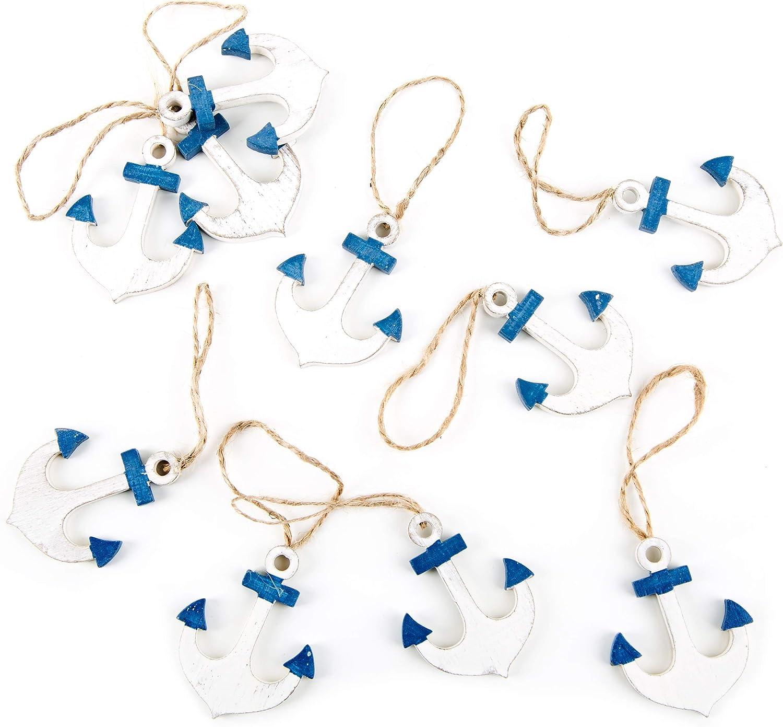 Logbuch-Verlag 10 anclas pequeñas de madera, azul y blanco, de 5 cm, con cordón, para colgar ancla, ancla colgante, ancla de barco, adorno marítimo, náutico, barco,amuleto, souvenir