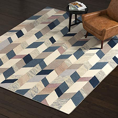 Amazon Com Rivet Modern Geometric Wool Area Rug 8 X 10 Foot
