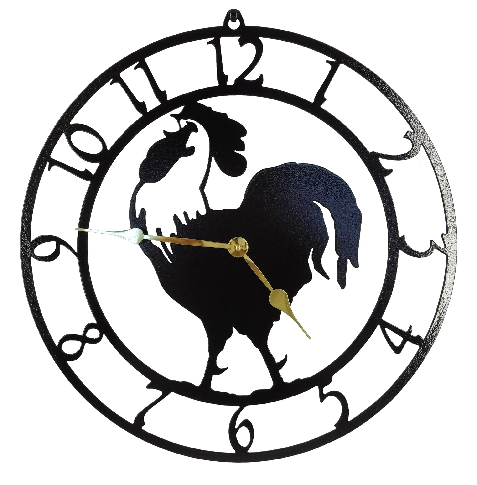 Rooster Wall Clock. Gloss Black with Brass Hands. Quartz Movement. Handmade in America.