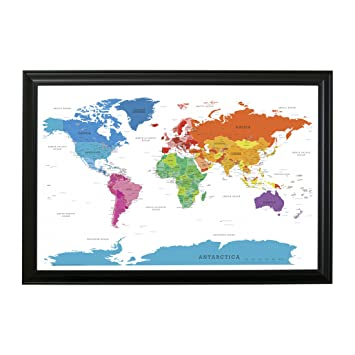 Amazon.com: Colorful World Push Pin Travel Map with Black Frame and ...