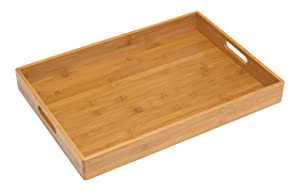 "Lipper International 8865 Solid Bamboo Wood Serving Tray, 19.75"" x 13.75"" x 2.25"""