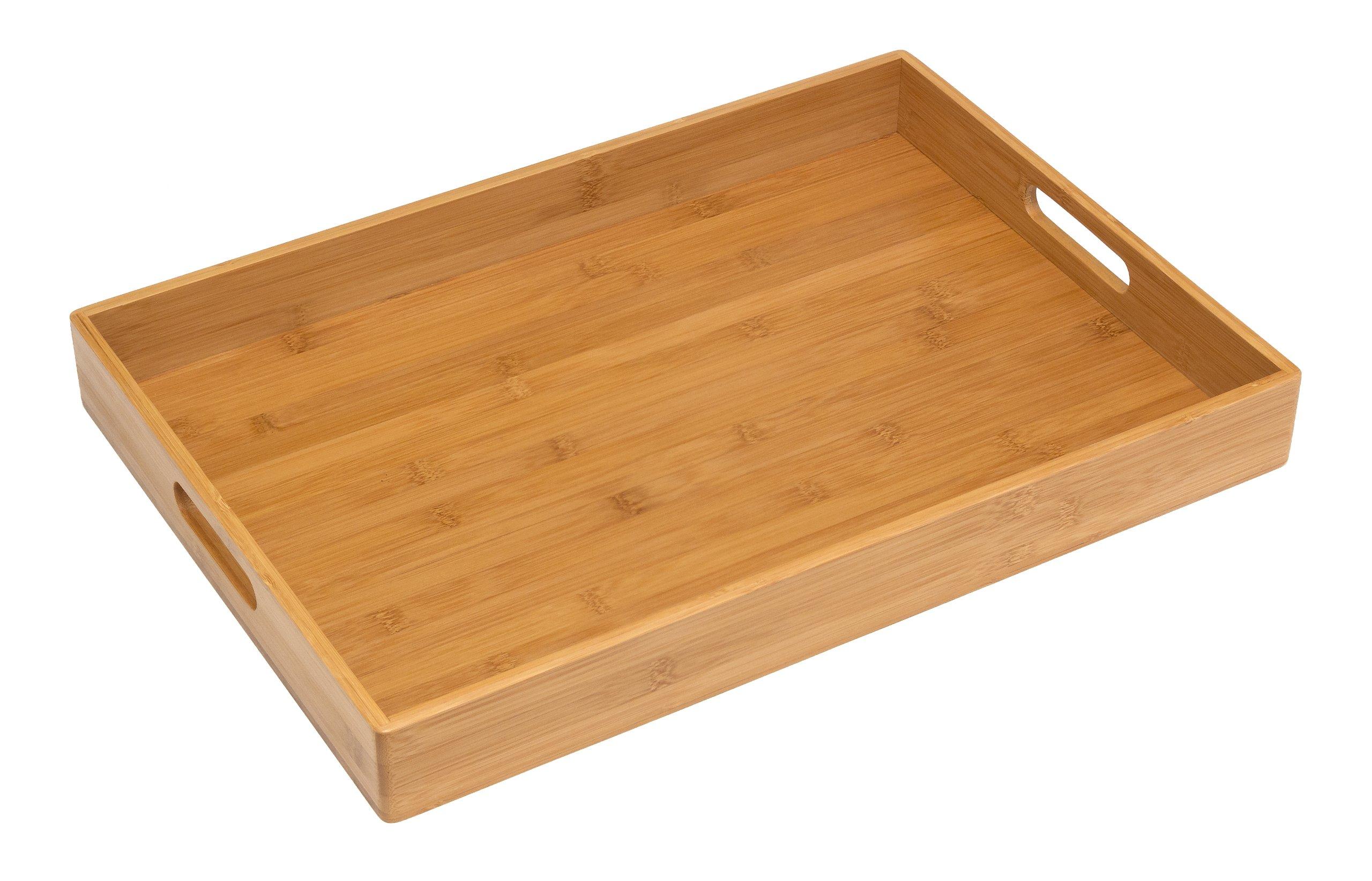 Lipper International 8865 Solid Bamboo Wood Serving Tray, 19.75'' x 13.75'' x 2.25''