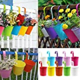 10 Pcs Hanging Planters, Metal Iron Hanging Flower Pot, Balcony Garden Plant Planter , Balcony Garden Pots, Metal Bucket Flower Holders for Wall Vase Fence Window Patio Home Decoration Supplies