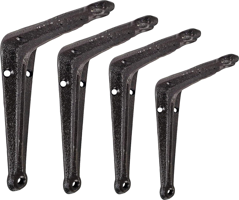 NACH JS-90-066Cast Iron L Brackets for Shelves, Heavy Duty Classic Designer Metal Shelf Brackets (Pack of 4)