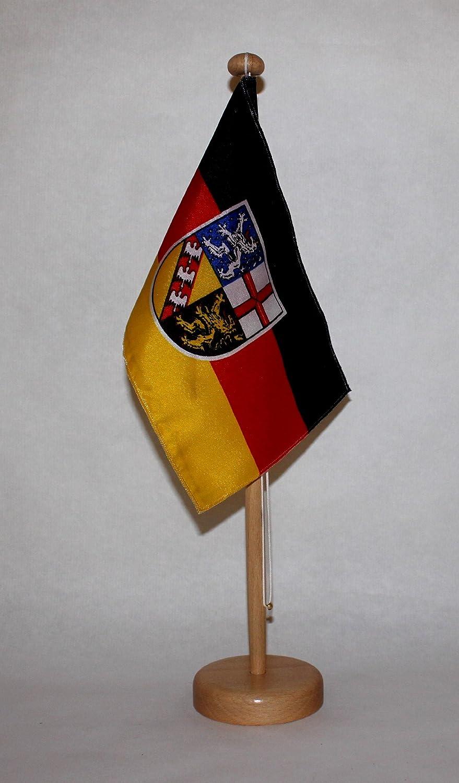 wahlweise mit oder ohne 42 cm Massivholz Saarland Tischflagge 15x25 cm in Profiqualit/ät Tischst/änder