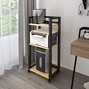 Natwind 3-Tier Floor-Standing Printer Stand with Wheels Host Stand Home Office Storage Shelf Document Organizer Table Large Size Multi-Purpose Shelf for Office(Black)