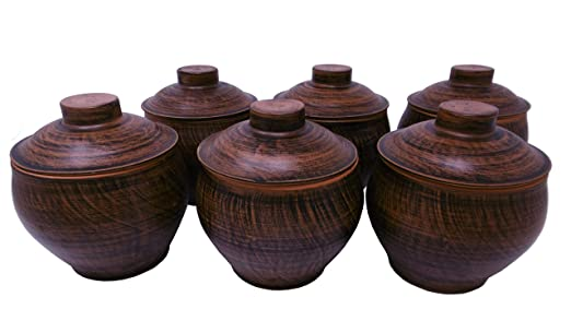 6 Tarros de Barro con Tapas - Terracotta - Ideales para cocinar en ...