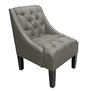 Skyline Furniture Tufted Swoop Arm Chair In Linen Gray