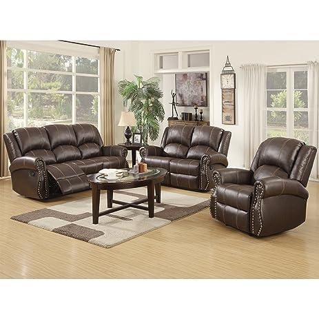 Amazon.com: SUNCOO 3-piece Bonded Leather Recliner Sofa Gold Thread ...