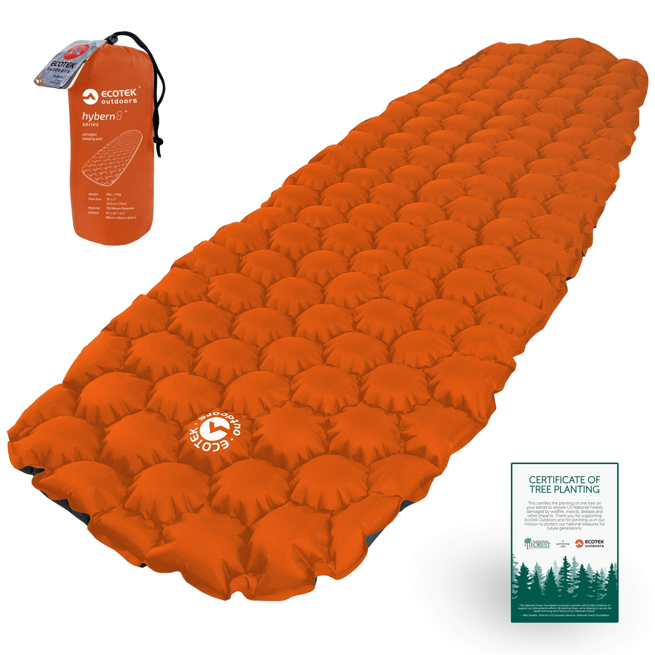 ECOTEK Outdoors Hybern8 Ultralight Inflatable Sleeping Pad Air Mattress for Hiking, Backpacking, Camping, Travel - Lightweight Portable Gear for Your Sleeping Bag, Bivy, Hammock, Cot, Mat, Tent by ECOTEK