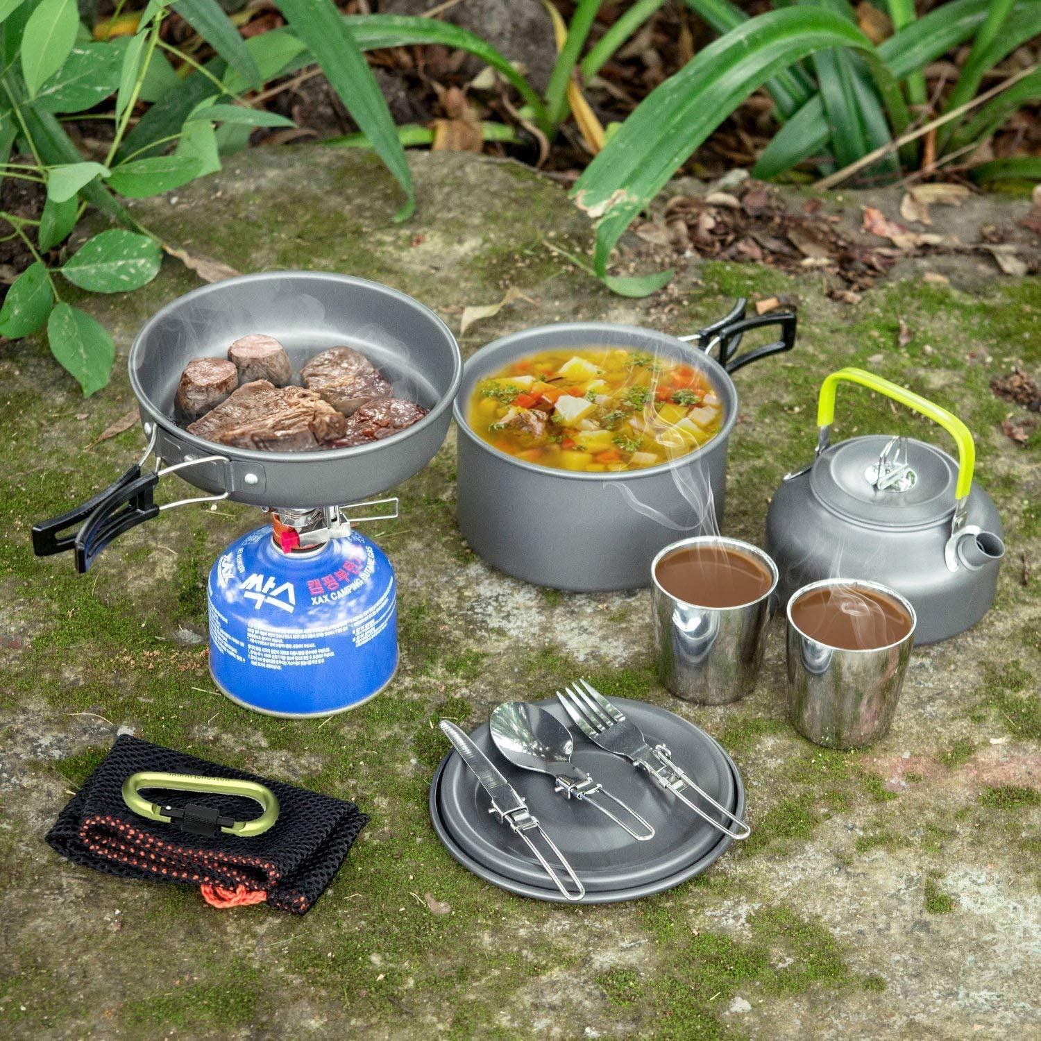 ZMEETY Camping Ustensiles De Camping Camping en Plein Air Set De Camping en Plein Air Ensemble pour Casserole Et Poêle 1-3 Personnes Wild BBQ Grill Orange