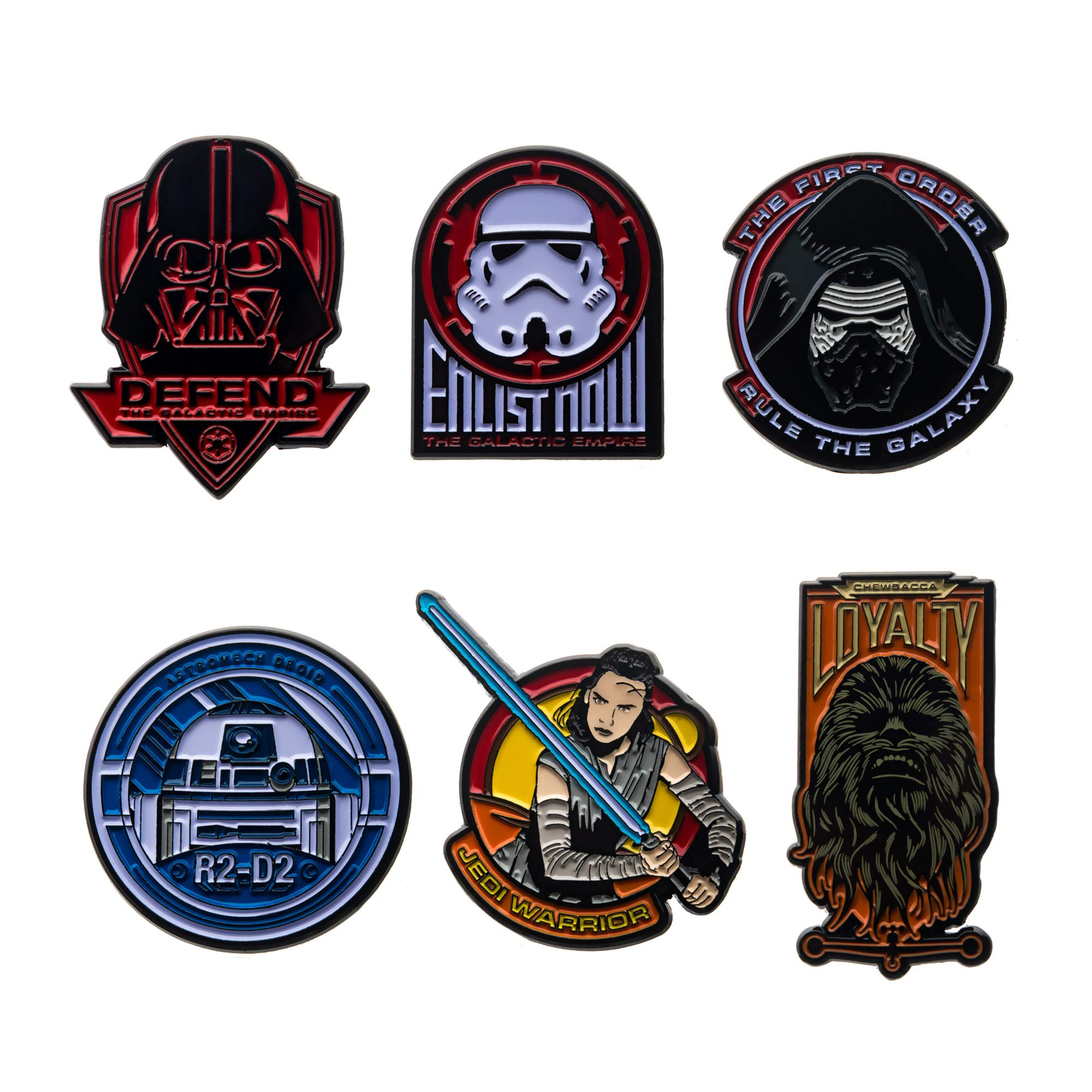 Star Wars Jewelry Unisex Adult Character Pack Pin Set of 6, Multicolor, One Size by Star Wars Jewelry