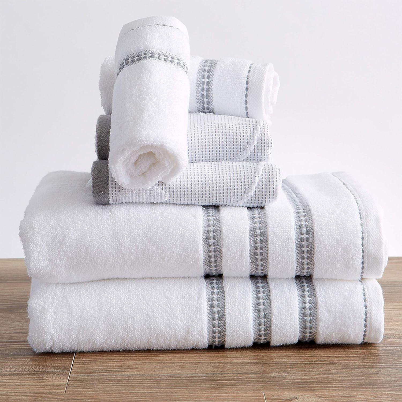100% Cotton Floral Jacquard Bath Towels, Luxury 6 Piece Set - 2 Bath Towels, 2 Hand Towels and 2 Washcloths. Absorbent Super Plush Decorative Towels (6 Piece Set, White / Grey)