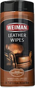 Weiman Leather Wipes - 6 Pack - Clean, Condition, Ultra Violet Protection Help Prevent Cracking or Fading of Leather Furniture, Car Seats and Interior, Shoes
