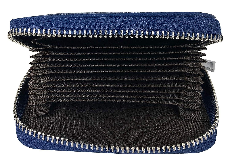 PRIME Best Rfid Blocking Genuine Leather Zipper Wallet Secure for Men /& Women Stainless Steel Metal Slim Credit Cards Business Minimalist Holds 12 Thin Front Pocket High-grade Card Holder Case Blue prettymine credit/_leder/_zip/_blue/_110/_75/_20