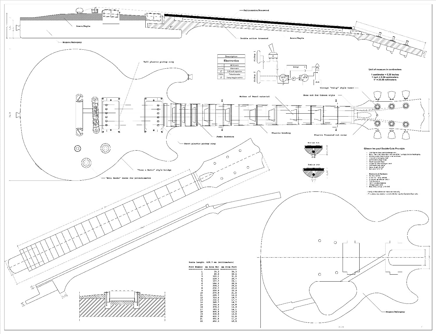 Full Scale Plans for the Gibson Les Paul Double Cutaway Electric ...
