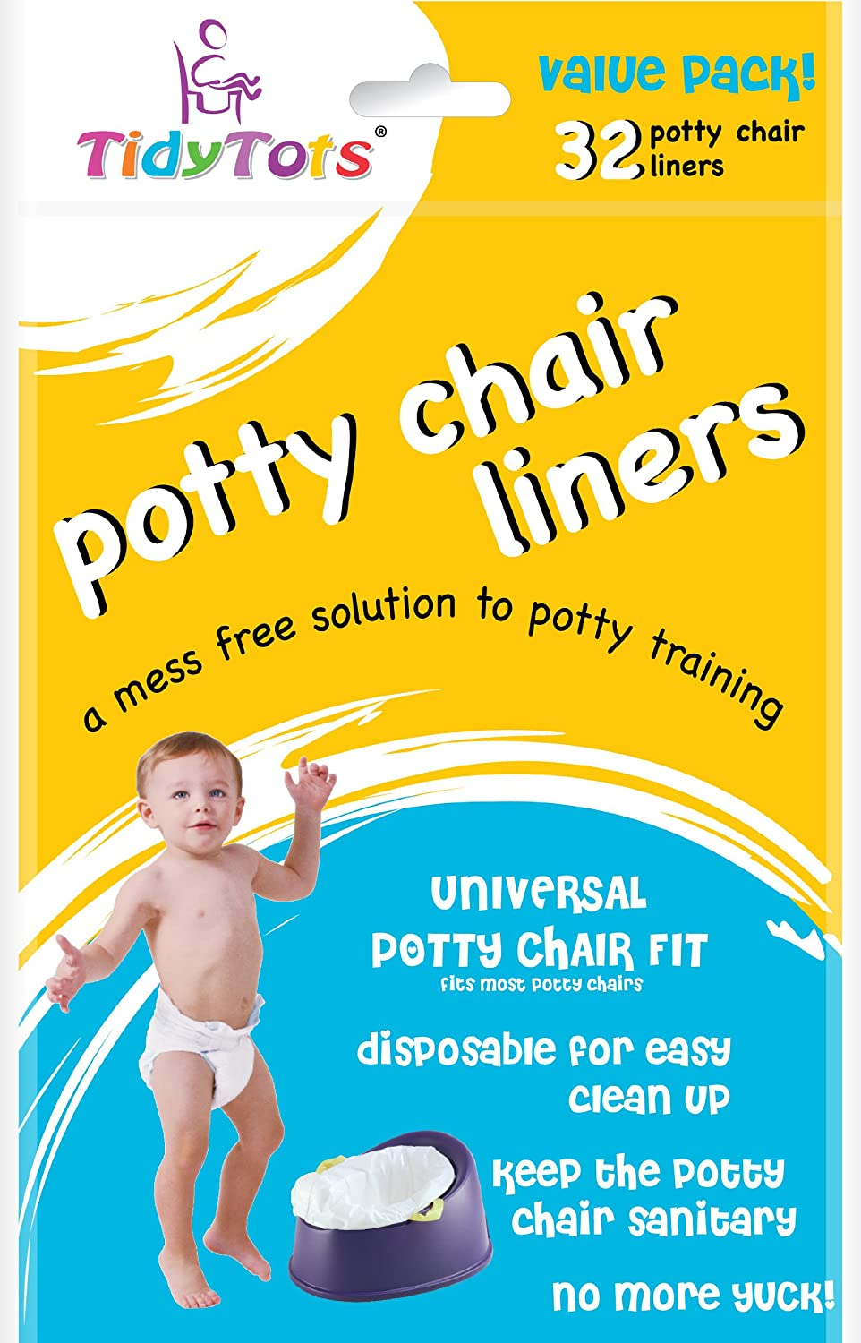 TidyTots Disposable Potty Chair Liners - Value Pack - Universal Potty Chair Fit (fits most potty chairs) - 32 Liners Tidy Tots TT-002