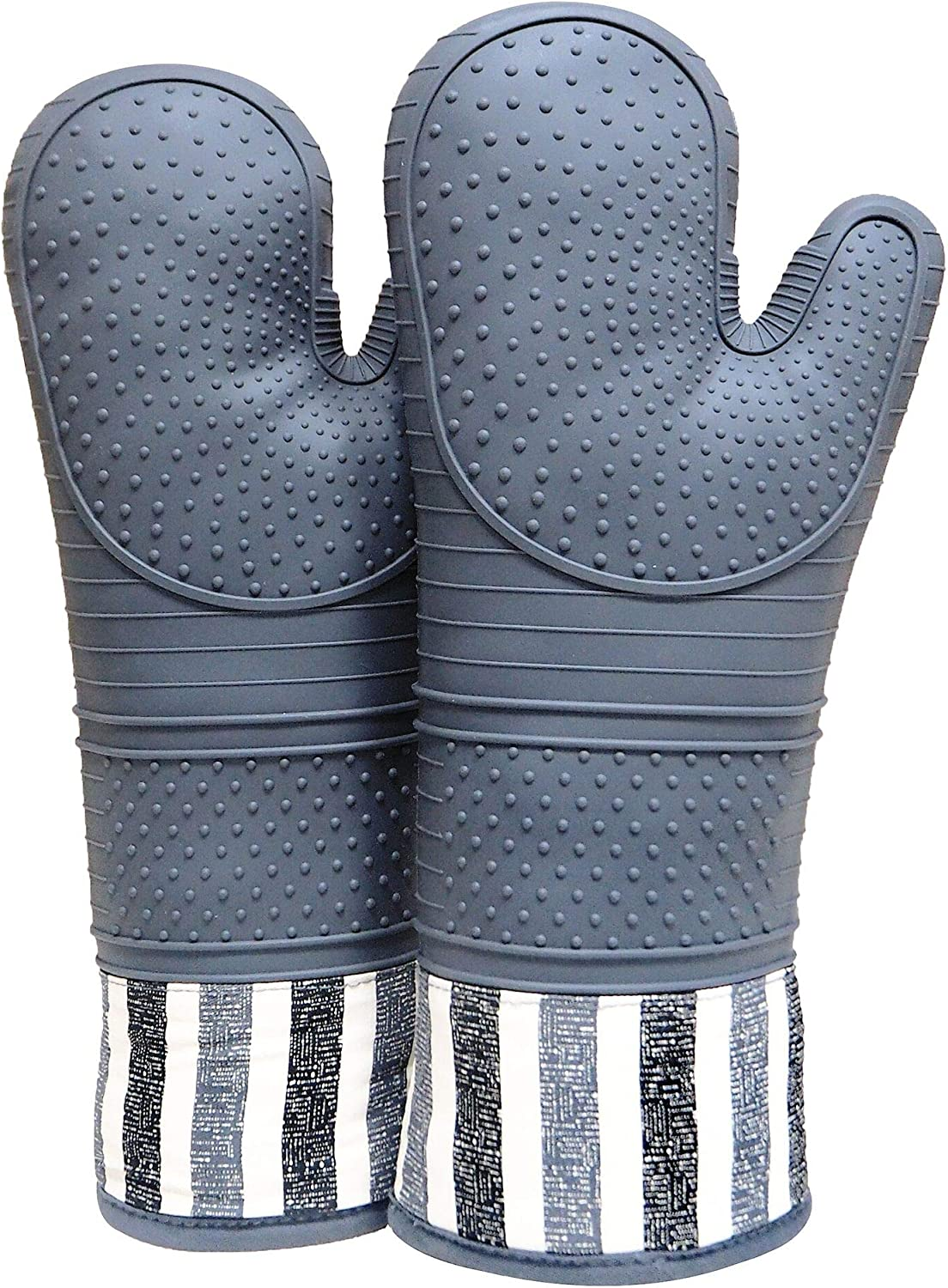 1 Pair Extra Long Silicone Oven Mitt with Quilted Liner Red Gloves Mitts
