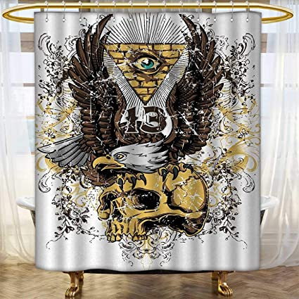 Anhounine Tattoo Shower Curtains Sets Bathroom American Eagle Wings Wide Open Top Of Skull Carrying Brick