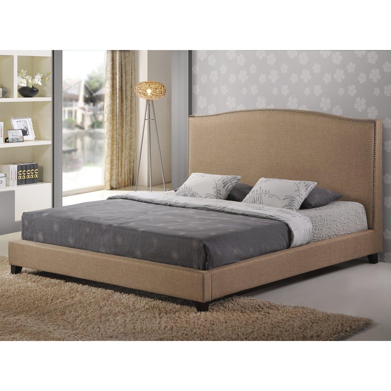 amazoncom baxton studio aisling fabric platform bed queen dark beige kitchen u0026 dining