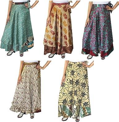 Venta al por mayor 5 unidades dos capas de la mujer india sari ...