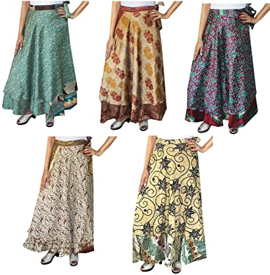 14ae747b82588 Maple Clothing Wholesale 5 Pcs Lot Two Layers Women's Indian Sari Magic  Wrap Around Long Skirt
