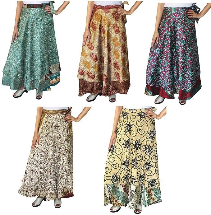 Venta al por mayor 5 unidades dos capas de la mujer india sari Magic Wrap Around