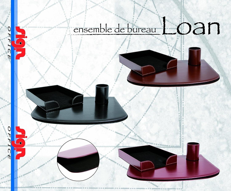 Set da scrivania Loan in vinile levigato con cuciture colore: marrone Sign Office in cofanetto regalo