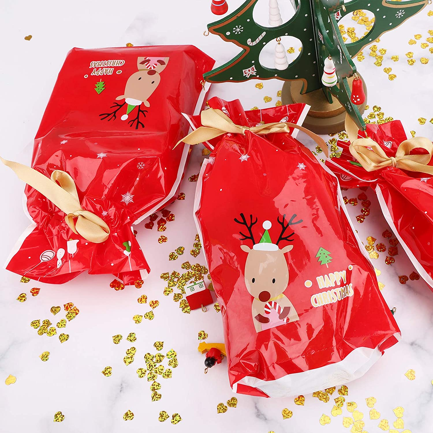 K Christmas Drawstring Gift Bags,50pcs Holiday Red Reindeer Xmas Present Gift Package Candy Sweet Bag Plastic Material Christmas Goody Bags for Wedding Anniversary Merry Christmas Party