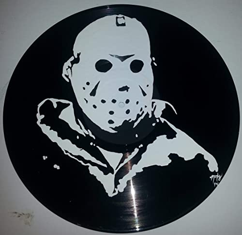 Hand painted slasher Jason Voorhees Horror vinyl record Wall art