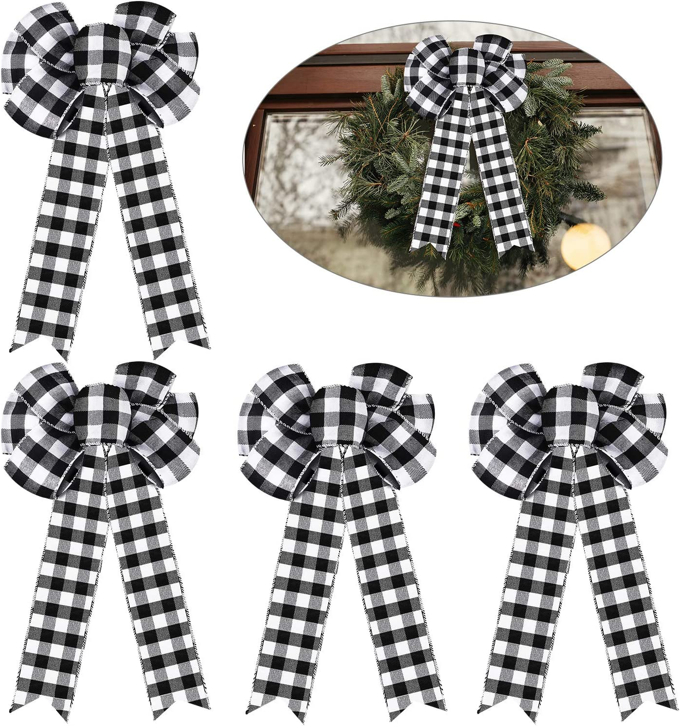 Syhood 4 Pieces 10 Inch Plaid Bow Black and White Large Buffalo Check Fall Christmas Tree Wreath Bow for Thanksgiving Basket Party Yard Decoration