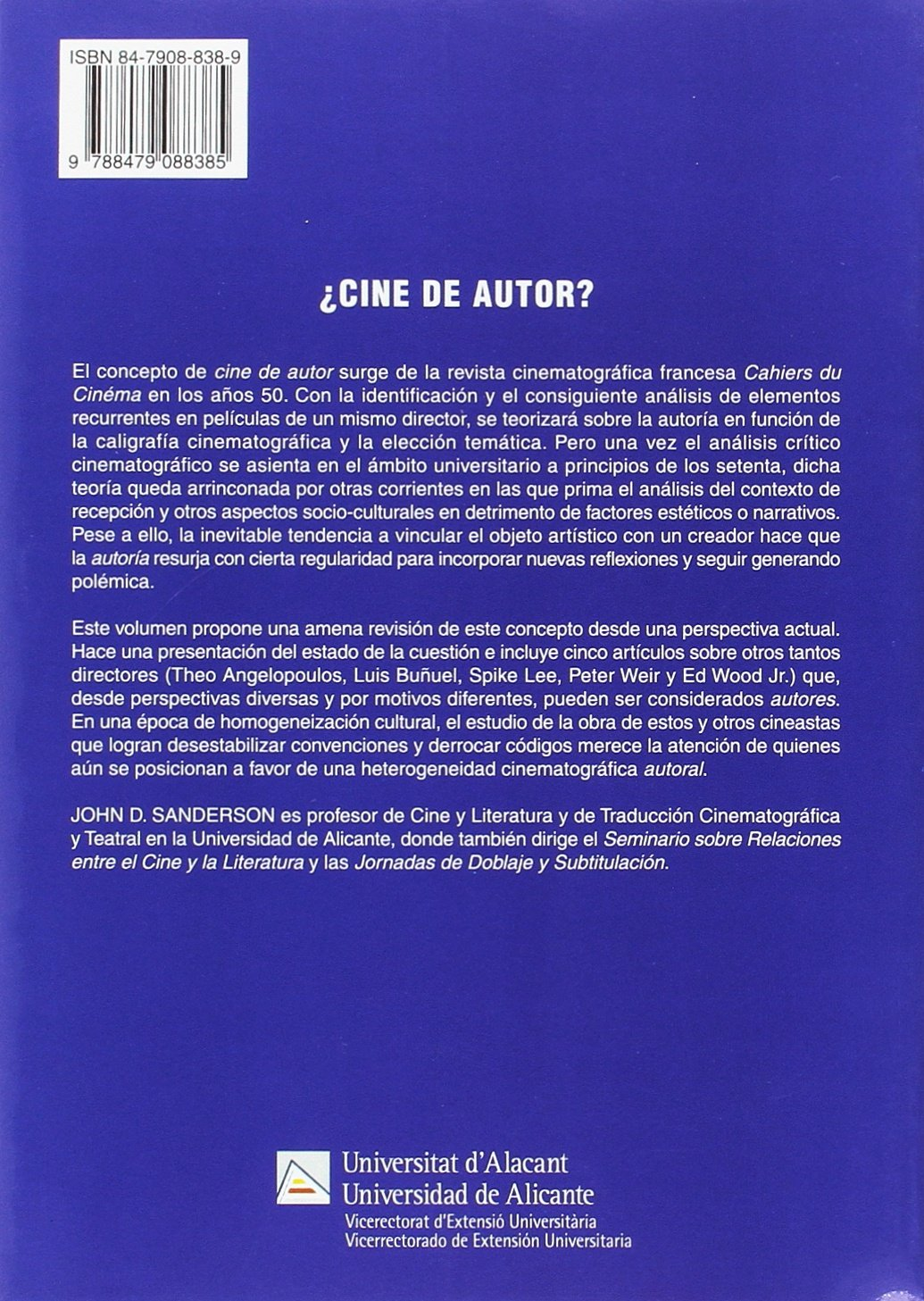 REVISION DEL CONCEPTO DE AUTORIA CINEMATOGRAFICA: John D. Sanderson: 9788479088385: Amazon.com: Books