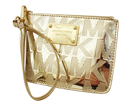 e55ded5c2b Image Unavailable. Image not available for. Color  Women s Michael Kors  Small Wristlet Jet Set Signature Logo Mirror Metallic Pale Gold
