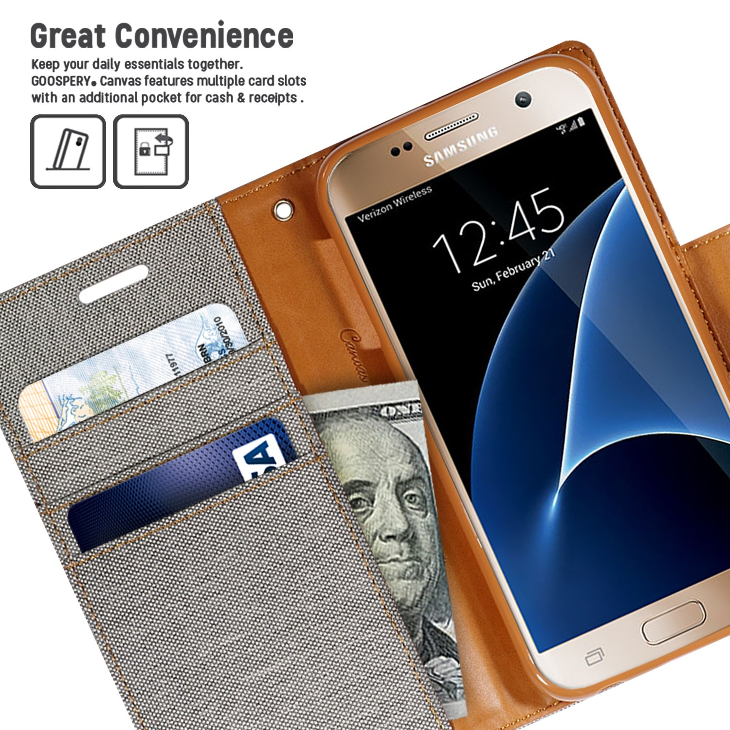Galaxy S7 Case Drop Protection Goospery Canvas Diary Denim Samsung S6 Red Material Wallet Id Card Cash Slot With Stand Flip Cover For Gray
