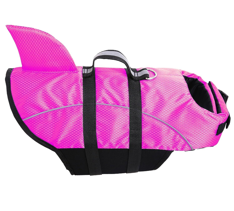 Queenmore Ripstop Dog Life Jacket, Shark Life Vest for Dogs, Size Adjustable Lifesaver Safety Jacket, Pet Saver Vest Coat Flotation Float Aid Buoyancy