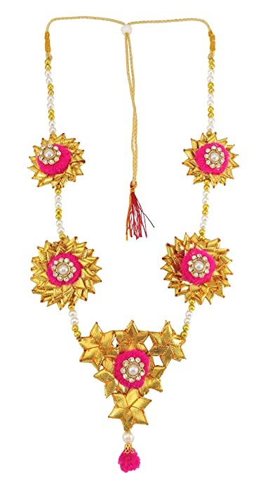 Buy Blent 63 Pink Gota Patti Flower Jewellery Necklace For Women