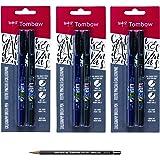 Tombow Fudenosuke Brush Pen 2 Pens Set (6 Pack Bundle)