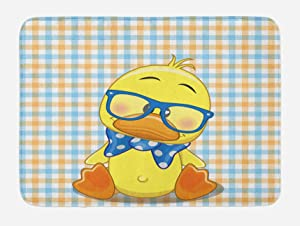 "Ambesonne Cartoon Bath Mat, Hipster Boho Baby Duck Dotted Bow Cool Free Spirit Smart Geese Design, Plush Bathroom Decor Mat with Non Slip Backing, 29.5"" X 17.5"", Orange Yellow"