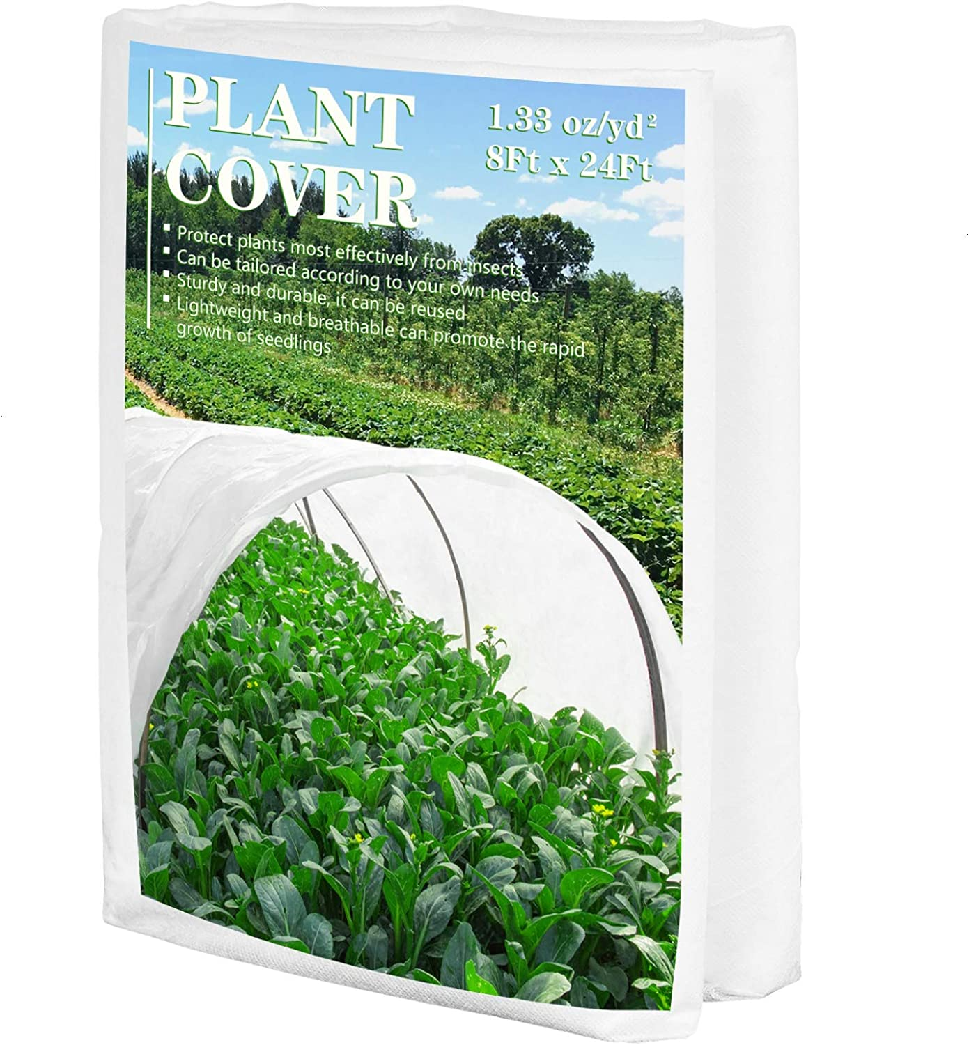 AQUEENLY Plant Covers Freeze Protection, 8x24 FT Garden Bed Cover, Row Covers for Vegetables in 1.33 oz/yd²