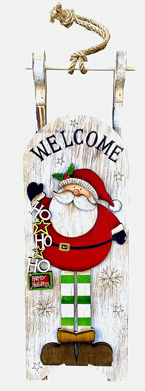 Clovers Garden Christmas Santa Hanging Sleigh Wall or Door Décor - Rustic Wooden Holiday Sled Indoor Decoration – Hand Painted Vintage Farmhouse Decorative Welcome Sign for Home or Office